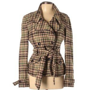 DKNY Wool Blend Pea Coat Double Breasted Plaid L